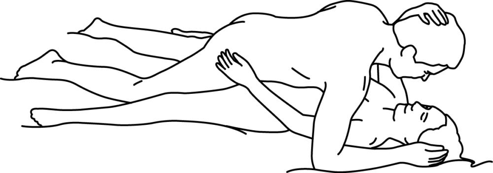 Illustratie van seks-standje met man bovenop