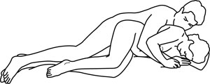 Illustratie van seksstandje zijligging (lepeltje-lepeltje)